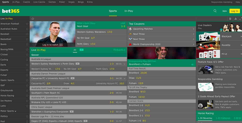 bet365 user interface